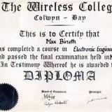 אישור סיום לימודים בתחום הנדסת אלקטרוניקהMax Bineth - Diploma the wireless college Colwyn Bay, May 1951