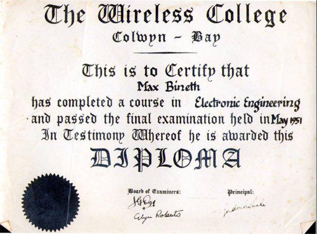 אישור סיום לימודים בתחום הנדסת אלקטרוניקהMax Bineth - Diploma the wireless college Colwyn Bay