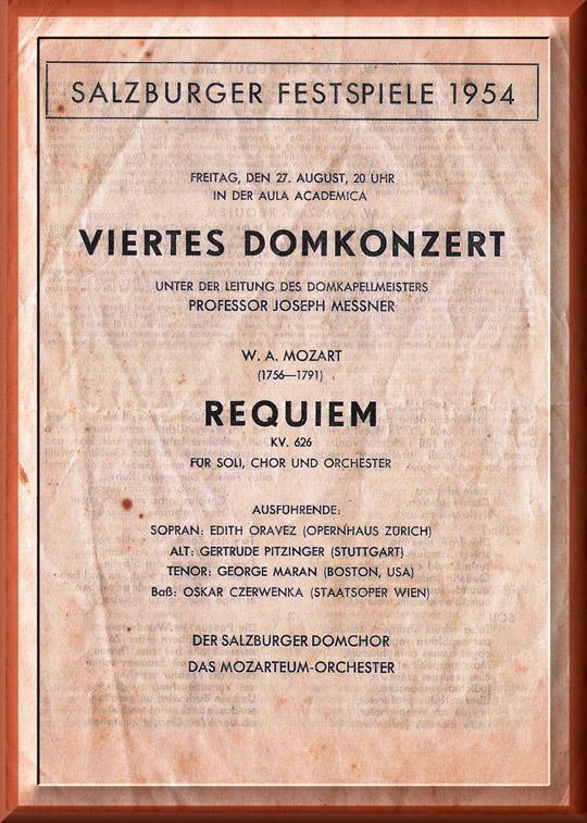 Mozart - REQUIEM - Salzburg festival 27/8/1954 at the Aula Academica, conductor Joseph Messner